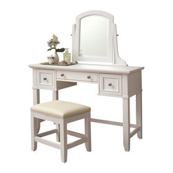 Home Styles - Home Styles Naples Vanity & Vanity Bench in White Finish - Home Styles - Bedroom Vanities - 553072 - Naples Vanity & Table Bench features unadorned details such as the straight and curved lines slightly flared legs profile-edged top and Brushed Nickel hardware allow for adaptable use of the Naples Vanity Table within a variety of home settings.  Use the table with the included mirror as a vanity table or without the mirror as a larger sized student desk.  Finished in a multi-step White finish over hardwood solids and engineered woods with a beveled glass tilt mirror; two felt-lined drawers; and a center storage drawer. The Naples Vanity Table Bench is finished in a multi-step White finish over hardwood solids with a Cream vinyl cushioned seat and slightly flared legs.