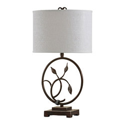 """Lamps Plus - Contemporary Dark Bronze Foliage Table Lamp - The foliage ring creates a beautiful silhouette which will look lovely next to a sofa. The design is constructed out of iron and finished in a dark bronze. The white linen lampshade enhances the contemporary look. Iron table lamp. Dark bronze finish. Iron construction. Foliage ring. Lampshade is linen. Rotary switch. Maximum 150 watt or equivalent bulbs for all three lamps (not included). Lampshade is 17"""" across the top and 10"""" deep 17"""" across the bottom and 10"""" deep 11"""" high. Base is 7 1/2"""" wide and 5 1/4"""" deep. 28 1/2"""" high.   Iron table lamp.  Dark bronze finish.  Iron construction.  Foliage ring.  Lampshade is linen.  Rotary switch.  Maximum 150 watt or equivalent bulbs for all three lamps (not included).  Lampshade is 17"""" across the top and 10"""" deep 17"""" across the bottom and 10"""" deep 11"""" high.  Base is 7 1/2"""" wide and 5 1/4"""" deep.  28 1/2"""" high."""