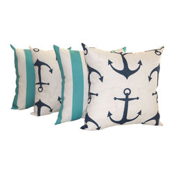 "Land of Pillows - Anchors Oxford Navy & 2"" Deck Stripe Ocean Blue Set of 4 Outdoor Pillows, 16x16 - Fabric Designer - Premier Prints"