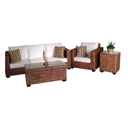Wicker Paradise - Seagrass Seating Set of 4 - Los Cabo - The Los Cabo seating set is framed on a rich mahogany wood and woven from all natural seagrass material, providing only the finest quality. Included in this set are 1 sofa, 1 chair, 1 coffee/cocktail table and 1 end/side table.  The sofa and chair comes with bottom and back cushions as shown.  Throw pillows are not included. Both tables come with glass tops and all furniture is fully assembled. This set will prove to bring luxury to your everyday living space.