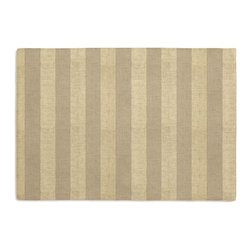 Metallic Gold Striped Beige Linen Custom Placemat Set - Is your table looking sad and lonely? Give it a boost with at set of Simple Placemats. Customizable in hundreds of fabrics, you're sure to find the perfect set for daily dining or that fancy shindig. We love it in this classic awning stripe with a modern metallic twist: gold foil printed on beige linen.