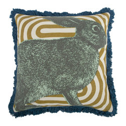 Thomas Paul - Menagerie Collection, Bunny Pillow - If only it was possible to sew all the Thomas Paul pillows together into a sofa. It would be the most talked about sofa in town. All the bright colored fauna and flora, the patchwork of silk and linen--it would truly be a masterpiece. The only thing that keeps us from doing this is--we don't know how to sew. And then there is that business about somehow attaching legs. We're even more clueless on how to do that.