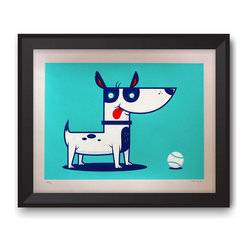 """Warnick Art - Dog Print - I think somebody would really like to play a game of fetch. One game and I'm pretty sure he'd be your BFF. """"Dog"""" is a limited edition, 5 color screen print. These are signed and numbered with an edition of 55 and printed on Stonehenge Cream 250 gsm paper. Prints are unframed."""