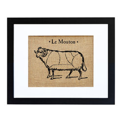 Fiber and Water - Le Mouton Art - This classic French country-themed print is hand-pressed onto natural burlap like a vintage agricultural sack, giving it an extra dose of rustic nostalgia. Neatly framed in a contemporary black frame and white matte, it would look charming in a French-themed kitchen.
