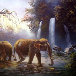 Oriental-Décor - River Elephants - Two elephants peacefully wade through a river in front of several cascading waterfalls. The elephant is symbolic of strength and astuteness in Asian lore and is revered as the national symbol of Thailand, where this scene was painted. Place this harmonic peace in any room.