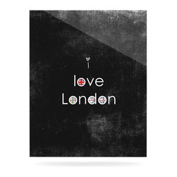 """Kess InHouse - Ingrid Beddoes """"I Love London"""" Black Grundge Metal Luxe Panel (16"""" x 20"""") - Our luxe KESS InHouse art panels are the perfect addition to your super fab living room, dining room, bedroom or bathroom. Heck, we have customers that have them in their sunrooms. These items are the art equivalent to flat screens. They offer a bright splash of color in a sleek and elegant way. They are available in square and rectangle sizes. Comes with a shadow mount for an even sleeker finish. By infusing the dyes of the artwork directly onto specially coated metal panels, the artwork is extremely durable and will showcase the exceptional detail. Use them together to make large art installations or showcase them individually. Our KESS InHouse Art Panels will jump off your walls. We can't wait to see what our interior design savvy clients will come up with next."""