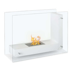 "Ignis Products - Vitrum L White Freestanding Ventless Ethanol Fireplace - Whether you install it in the den, living room, or bedroom, you'll find yourself enchanted by the welcoming warmth of this Vitrum L White Freestanding Ventless Ethanol Fireplace. It offers a sleek, modern look that is well at home in your contemporary decor. With clear glass sides and a white L-shaped inner plate for holding the flame, this free standing fireplace design offers you the ease of seeing inside the unit from nearly any spot in your room. It throws out 6,000 BTUs of warm, welcoming heat that is a comfort to come home to. The burner holds 1.5 liters of bio ethanol fueland burns for around five hours. Dimensions: 31.5"" x 23.75"" x 12.5"". Features: Ventless - no chimney, no gas or electric lines required. Easy or no maintenance required. Freestanding - can be placed anywhere in your home (indoors & outdoors). Capacity: 1.5 Liter Burner. Approximate burn time - 5 hours per refill. Approximate BTU output - 6000."