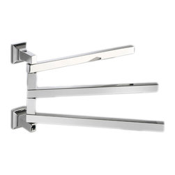 "Modo Bath - Domino H6023 Swivel Triple Towel Bar 14.6"" - Domino H 6023 Swiveling Triple Towel Bar, 14.6"" W x 8.7"" D, in Polished Chrome"