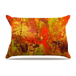 """Kess InHouse - Jeff Ferst """"Autumn"""" Orange Red Pillow Case, Standard, 30""""x20"""" - This pillowcase, is just as bunny soft as the Kess InHouse duvet. It's made of microfiber velvety fleece. This machine washable fleece pillow case is the perfect accent to any duvet. Be your Bed's Curator."""