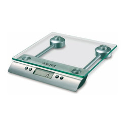 "Taylor - Aquatronic Glass Kitchen Scale - Salter Aquatronic glass electronic kitchen scale - weighs both dry and liquid ingredients; .6"" LCD readout; includes baker's chart for conversion of weights to volume for selected ingredients; auto and manual off; add & weigh tare feature; 11 lb/5 kg capacity in 1/8 oz/1 g increments"