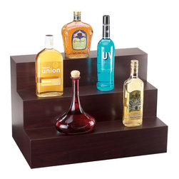 Cal Mil - 24W x 15D x 15H 3 Step Bottle Display Dark Wood 1 Ct - Use our bottle display in your home or commercial bar. It is big enough to show off a generous assortment of bottles and the three tiers provide multiple levels to show off all of your liquor bottles to their best advantage. Use just one stand to display a selection or use many stands together to create a bar length display and demonstrate the diversity of your liquor stock