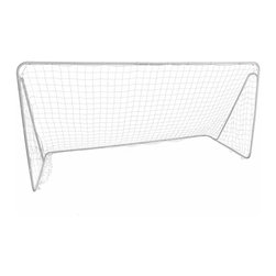 Lion Sports - Soccer Goal - 12 ft. x 6 ft. goal that assembles in a snap. 1.25 in. powder-coated tubular steel frame. All-weather twisted poly 4 x 4 in. net with self-stick loops. Ground stakes included for stable setup and play. Corner supports for added stability. 144 in. L x 72 in. W x 72 in. H (27 lbs)