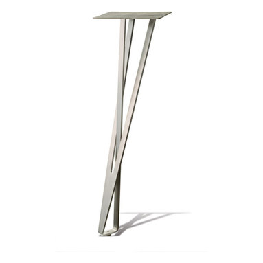 TL - Loop Leg - TL/LOOP/27 - Mr. Pless's concept is laser-cut steel sheet, with multiple bends to shape. And what a shape it is! First, one major element crosses through and inside the other, giving somewhat of the illusion of a magic shape. Second, the entire leg rests at an angle to vertical. Base features an adjustable glide.