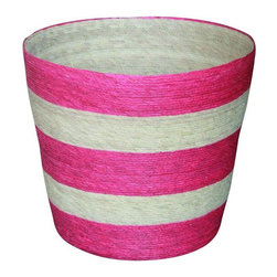 Pre-owned Palm Leaf Hand-Crafted Waste Basket - Made of natural palm tree leaves, this basket was handmade by weavers in Taxco, a city in Guerrero. Palm is the major source of raw material, and commonly used for preparing baskets and related products in this area. Use this colorful basket for plants or trash, in nearly any room in your home.