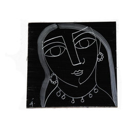 Used 1960s Abstract Black and White Tile - An abstract Mid-Century tile, dating from the 1960s. This artistic piece features a woman wearing jewelry in white lines on the stark black background, and is signed in the corner. There are some light chips to the edges and a few scratches to the face. This tile was made by H&R Johnson, and has been professionally soaked, but still retains some of their mastic on the back side. This would make a fantastic addition to your next DIY tile project!