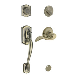 "Schlage - Camelot Handleset w Accent Interior Lever in - Choose Orientation: Left HandManufacturer SKU: F93 CAM 609 ACC LH. Handle Type: Handleset. Dummy function includes a handleset grip, interrior knob or lever and non-functioning deadbolt; does not lock. Patented adjustable through-bolt allows easy installation; retrofits existing doors. Shown for left handed doors. Limited Lifetime Mechanical and Finish Warranty. Coordinate with other Accent Antique Brass products. High quality materials and construction used for a longer life and brilliant finish. Designed for standard door prep (fits existing pre-drilled holes). Universal latch adjusts to fit 2-3/8"" or 2-3/4"". Fits 1-3/8"" to 1-3/4"" wood or metal doors. Finish: Antique Brass. 2.9 in. L x 3 in. W x 12.9 in. H (5.2 lbs)"