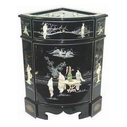Oriental Furniture - Small Corner Cabinet - This uniquely shaped black lacquer cabinet was hand-crafted by a family of artisans in Guangdong. The drawer, door, top and front panels have been decorated with exquisite hand carved mother of pearl figures and scenery and finished in a rich, clear lacquer. The interior is similarly lacquered and includes a removable shelf.