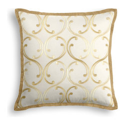 Pale Yellow Embroidered Scroll Chain Tailored Pillow - The Tailored Throw Pillow is an updated, contemporary pillow style with the center fabric framed by a thin contrast flange.  Voila! -it's artwork for your couch!  We love it in this elegant, classic swirling chainlink trellis embroidered in pale yellow & gold.