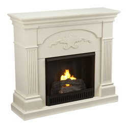 """Holly & Martin - Holly & Martin Salerno Gel Fireplace-Ivory X-81-6-130-312-73 - Finished with a beautiful ivory color, the elegance of this gel fuel fireplace is ideal for enhancing your home's cozy appeal. Fluted columns on each side and a decorative scroll appliqu&#233: create one beautiful home accent. All of your guests are sure to marvel at such a wonderful centerpiece. Portability and ease of assembly are just two of the reasons why our fireplace mantels are perfect for your home.  Requiring no electrician or contractor for installation allows instant remodeling without the usual mess or expense. In addition to your living room or bedroom, try moving this fireplace to your dining room for romantic dinners or complement your media room with a ventless fireplace below your flat screen television. Use this great functional fireplace to make your home a more welcoming environment.  - 44.75"""" W x 14"""" D x 40.25"""" H                                                                           - Ivory finish                                                                                          - Beautiful media room accent                                                                           - Mantel supports up to 85 lb.                                                                          - Accommodates a flat panel TV up to 42.75"""" W overall                                                   - Constructed of poplar wood and MDF with veneer                                                        - Assembly required                                                                                       - None of the mess of a wood burning fireplace                                                          - FireGlo Gel Fuel snaps and crackles like real burning wood (fuel not included)                        - Emits no smoke, odor, or ash                                                                          - Holds up to 3 cans of gel fuel simultaneously for a full bo"""