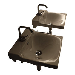 "WS Bath Collections - Buddy 3401 Wall Mounted Bathroom Sink 15.7"" x 16.5"" - Buddy by WS Bath Collections Bathroom Sink 15.7"" x 16.5"", Wall Mounted Washbasin, Made in Italy"