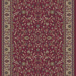 """Concord Global - Concord Global Jewel Kashan Red 6'7"""" x 9'6"""" Rug (4060) - Jewel collection is machine-made in Turkey using 100% heat-set polypropelene. These traditional to contemporary rugs will make a colorful addition to any area."""