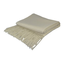 "Pur by Pur Cashmere - Signature Blend Throw White 50""x65"" With 6"" Fringe - Signature cashmere blend throw 10% cashmere / 80% wool / 10% microfine Dry clean only. Inner mongolia."