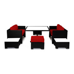 "Reef Rattan - Reef Rattan Camina 7 Pc Cube Love Seat Dining Set - Black Rattan / Red Cushions - Reef Rattan Camina 7 Pc Cube Love Seat Dining Set - Black Rattan / Red Cushions. This patio set is made from all-weather resin wicker and produced to fulfill your needs for high quality. The resin wicker in this patio set won't fade, shrink, lose its strength, or snap. UV resistant and water resistant, this patio set is durable and easy to maintain. A rust-free powder-coated aluminum frame provides strength to withstand years of use. Sunbrella fabrics on patio furniture lends you the sophistication of a five star hotel, right in your outdoor living space, featuring industry leading Sunbrella fabrics. Designed to reflect that ultra-chic look, and with superior resistance to the elements in a variety of climates, the series stands for comfort, class, and constancy. Recreating the poolside high end feel of an upmarket hotel for outdoor living in a residence or commercial space is easy with this patio furniture. After all, you want a set of patio furniture that's going to look great, and do so for the long-term. The canvas-like fabrics which are designed by Sunbrella utilize the latest synthetic fiber technology are engineered to resist stains and UV fading. This is patio furniture that is made to endure, along with the classic look they represent. When you're creating a comfortable and stylish outdoor room, you're looking for the best quality at a price that makes sense. Resin wicker looks like natural wicker but is made of synthetic polyethylene fiber. Resin wicker is durable & easy to maintain and resistant against the elements. UV Resistant Wicker. Welded aluminum frame is nearly in-destructible and rust free. Stain resistant sunbrella cushions are double-stitched for strength and are fully machine washable. Removable covers made with commercial grade zippers. Tables include tempered glass top. 5 year warranty on this product. Table with Glass: W 49"" D 52"" H 30"", Love Seats (2): W 57"" D 30"" H 30"", Ottoman (2): W 24"" D 24"" H 13"""