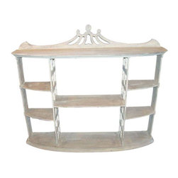 Pre-owned Mahogany Display Shelf - All the right style, from the bowed shape front to the interior cutouts and the flare at the top. Great whitewashed with light grey and white chalk paint. The decor uses are endless. The feel is gentile. Lends itself to Chinoiserie, Chippendale  and shabby chic interiors.