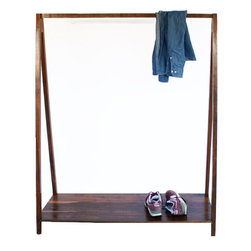 2131 - Walnut Coat Hanger - This solid walnut coat hanger brings the closet out to an open space or bedroom, for displaying clothes, and lining up shoes across the bottom. The look is simple and modern,  with natural walnut wood grains giving it a warmer aesthetic.