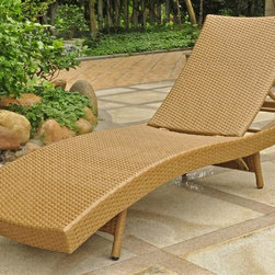 International Caravan - Contemporary Chaise Lounge - Beautiful and unique European design. Equipped with a rust free aluminum frame. All weather resistant. UV light fading protection. Four multi position for various comfort zones. Made from premium outdoor wicker resin. Aluminum honey pecan color. Assembly required. 25 in. W x 76 in. D x 15 in. H (30 lbs.)