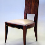 Jeannie Dinning Chair - Cosmo Barbaro; Jeannie Dining Chair, african mahogany, fiddle back makore, wenge, maple, nu buck leather.  retail price $5000, whole sale price $2500.