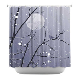 DiaNoche Designs - Shower Curtain Artistic - Snowbird Blue Grey - DiaNoche Designs works with artists from around the world to bring unique, artistic products to decorate all aspects of your home.  Our designer Shower Curtains will be the talk of every guest to visit your bathroom!  Our Shower Curtains have Sewn reinforced holes for curtain rings, Shower Curtain Rings Not Included.  Dye Sublimation printing adheres the ink to the material for long life and durability. Machine Wash upon arrival for maximum softness. Made in USA.  Shower Curtain Rings Not Included.