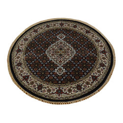 1800-Get-A-Rug - Round Tabriz Mahi Handmade Wool and Silk 250 kpsi Oriental Rug Sh19821 - Our fine Oriental hand knotted rug collection consists of 100% genuine, hand-knotted and hand-woven rugs from Persia, China, and other areas throughout Asia. Classic, traditional, and offered in a wide range of elaborate designs, every handmade rug is guaranteed to serve as a beautiful and striking element in any interior setting.