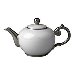 """L'Objet - L'Objet Aegean Platinum Tea Pot White - Limoges Porcelain, Made in Portugal. 24k Gold or Platinum Decorated. Dishwasher Safe on Delicate Setting. Not Microwave Safe Height 6"""", 45 oz.L'Objet is best known for using ancient design techniques to create timeless, yet decidedly modern serveware, dishes, home decor and gifts."""