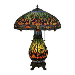 """Meyda Tiffany - Meyda Tiffany 118845 25"""" H Tiffany Hanginghead Dragonfly Lighted Base Table Lamp - Splendid and excellent, the 25"""" Height Tiffany Hanginghead Dragonfly Lighted Base Table Lamp by Meyda Tiffany is a wonderful choice to augment your design. Breathe life into your design with this stylish table lamp featuring 60 watts per bulb and a bowl shaped shade.Features:"""