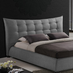 Baxton Studio - Gray Marguerite Queen Platform Bed - Featuring luxurious button-tufting and a plush headboard, this queen-size bed encourages night after night of cozy sleep while touching the décor with upscale sophistication.   Mattress and bedding not included 77'' W x 44.5'' H x 92'' D Linen / wood / plywood / medium-density fiberboard / foam Imported