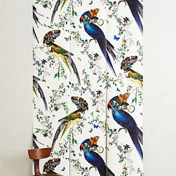 Anthropologie - Lear Gaukur Wall Mural - This wallpaper is just what you need for a statement wall in a boho-style room! I love the playful colors and bold look of the birds.