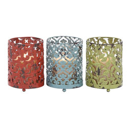 Benzara - Candle Holder with Long Lasting Construction - Set of 3 - Looking for a set of assorted candle holders that can do justice to your elegant decor and exclusive fragrance candles? This set of metal candle holders ensures that your decor is complemented with nothing but the best. Carefully crafted with elegant design in 3 shining colors of dazzling red, classy green and aqua blue, these candle holders guarantee you accolades for your artistic choice and classic taste. With an ability to light up and conveniently hold even broad candles, these candle holders beautifully emit the candle light through their intricately carved designs. These metal candle holders are perfect for that evening dinner with your partner in a relaxed and comfortable ambience.