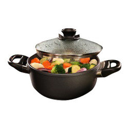 """Swiss Diamond - Induction Nonstick Casserole - 2.3 qt (8"""") - Swiss Diamond's PFOA-free cookware features unmatched nonstick performance for healthy cooking and quick clean-up. Take one piece of cookware from stovetop to oven to table with this sturdy 2.3-quart (8 inch) Swiss Diamond Nonstick Casserole. Thanks to high-quality European craftsmanship Swiss Diamond induction cookware is guaranteed not to buzz on your stovetop. The patented nonstick coating, reinforced with real diamond crystals, guarantees immediate release of stubborn food particles with just warm soapy water. The handles are securely attached to provide the strength of rivets without the potential for bacteria build-up. Oven safe up to 260C (500F). Includes heat-tempered glass lid."""