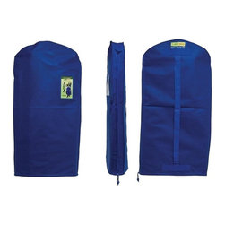 Z Racks - Green Garmento Garment Bag in Blue Water - A Duffel Bag and A Dry Cleaning Bag!. Use as a hanging hamper. Breathable & water resistant. Full Length Zipper. An eco-friendly, stylish, & practical alternative to single-use plastic dry-cleaning bags.  5.25 in. Side Gussets. 48 in. L x 25 in. WThe Green Garmento long bag is an attractive, affordable, and reusable 4-in-1 garment bag that is perfect for long dresses, most coats, suits, slacks, sweaters and tops. It also makes a great duffel bag!  All of our Green Garmentos have 5.25 in. side gussets to gently hold multiple items as well as a full length side zipper for easy access to all of your hanging clothes.  By switching to The Green Garmento, YOU will help to drastically reduce the negative impact of single-use plastic bags.