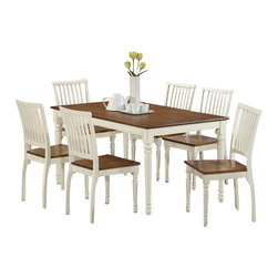 """Monarch Specialties - Monarch Specialties 1838 7-Piece Rectangular Dining Room Set in White - Bring style to your home with this charming 36""""X 60"""" dining table featuring turn post legs and a beautiful two-tone finish. This antique oak and buttermilk finished table brings rustic charm to any dining area."""