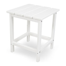 Polywood - 15 in. Eco-friendly Side Table in White - You certainly don't need a home in the Hamptons to enjoy the classic, yet festive, Long Island Collection. Inspired by the original Northeast Adirondack and updated with a modern design, its not just fun to look at, but its also extremely comfortable to unwind in. You can't very well sit back and relax without somewhere to set your iced tea. This side table is the perfect companion to the Long Island Adirondack as well as the dining and rocking chairs. It is also designed to withstand natures elements as well as to resist stains, corrosive substances, insects, fungi, salt spray and other environmental stresses.