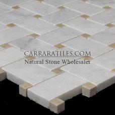 Modern  Bianco Carrara Marble Basketweave Mosaic Tile Crema Marfil Dots Polished