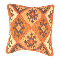 """Jaipur Rugs - Handmade Wool & Jute Orange/Brown (18""""x18"""") Pillow - The Bedouin collection of pillows is hand woven from wool and jute. Patterns are inspired by traditional kilim patterns which have been recolored and updated. The look is rustic and authentic and designed to be mixed and matched with the coordinating range of poufs and rugs."""