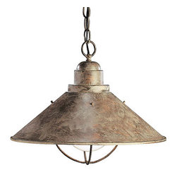 Kichler - Seaside Nautical Dome Light - Nautical Seaside Olde Brick metal dome light measures 16W x 13H and takes one 150 watt bulb.  Please note the white globe pictured is the bulb, not glass.  - Includes 130 of chain.  - Needs to be hardwired. Kichler - 2713-OB