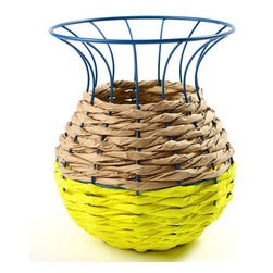 Inova Team -Contemporary Fluo Yellow Basket - The Fluo Basket is a delightfully deconstructed design with a two-toned woven base—half neon, half neutral—that gives way to a wire frame, left entirely exposed at the top.