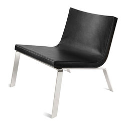 "Blu Dot - ""Blu Dot Stella Lounge Chair, Black"" - ""Luxurious clarity. A contract-friendly leather alternative covered seat with a gently curved back floats over polished stainless steel legs. Sweetly designed to occupy only its fair share of space at the cocktail party. Here's to you, Mrs. Robinson. Available in dark brown, white and black."""