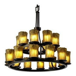 Justice Design Group - Veneto Luce Dakota 2-Tier Ring Chandelier by Justice Design Group - The Justice Veneto Luce Dakota Two Tier Ring Chandelier is absolutely spectacular chandelier with 21 lights that creates lavish illumination for large spaces. The Veneto Luce Dakota Two Tier Ring Chandelier features Venetian glass shades and is suitable for damp locations.Justice Design Group offers a wide array of lighting solutions for residential and commercial settings. Create a mood, complement a theme, or add the perfect accent with a JDG decorative lighting fixture.The Justice Design Veneto Luce Dakota Two Tier Ring Chandelier is available with the following:Included Features:Twenty one cylinder-shaped, Venetian glass shades.Metal body.120 inch wire.72 inch chain.UL Listed for damp locations.Options: Glass Color: Amber (shown), Gold with Clear Rim, or Whitewash.Finish: Dark Bronze (shown), or Matte Black.Lighting: Twenty one 60 Watt 120 Volt Type G-16.5 Incandescent lamps (not included).Shipping:This item usually ships within 1-2 weeks.