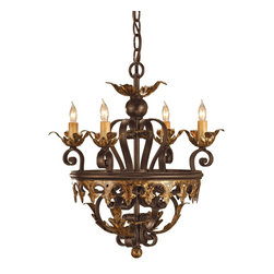 Currey & Company - Currey & Company Castello Chandelier CC-9216 - A neat compact chandelier that packs a lot of look into its small size is made into something special by its beautifully detailed ironwork. A finish of Black Bronze and Gold Leaf complement the fine metal work.