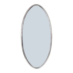 ELLA Elegant Oval Wall Mirror, Hammered Silver Metal - Elegant hammered silver oval mirror ELLA. Beautiful proportions. Can be hung horizontally and vertically.